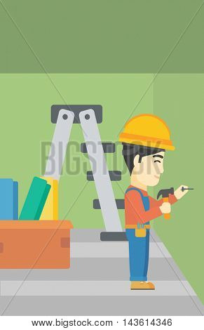 An asian worker hammering a nail into the wall. Worker in overalls and hard hat nailing with hammer in apartment. Vector flat design illustration. Vertical layout.
