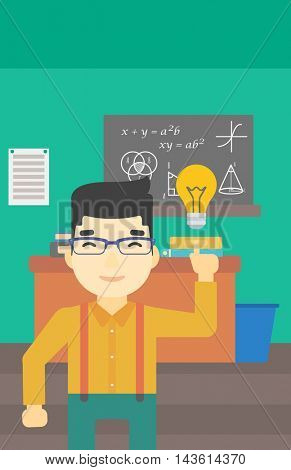 An asian young student pointing finger up at the light bulb. Young man with light bulb on a background of classroom. Vector flat design illustration. Vertical layout.