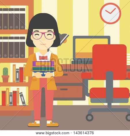 An asian young female student holding pile of books. Woman with pile of books in hands at home. Smiling student with stack of books. Vector flat design illustration. Square layout.