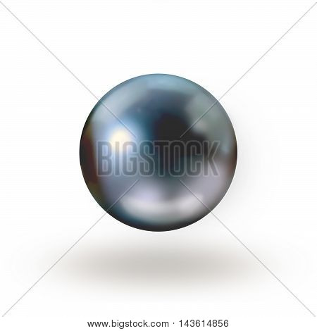 Photo of black pearl isolated on white background