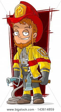 A vector illustration of cartoon fireman chief in cool uniform