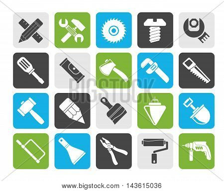 Silhouette Construction tools object icons - vector icon set