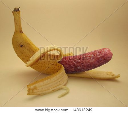 A sausage is inside of a banana.