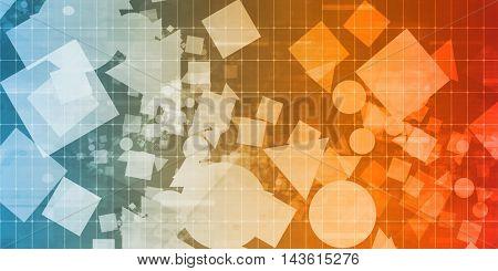 Random Shapes Background Scattered on a Design Grid Background