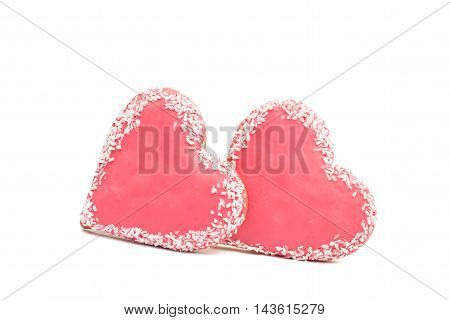 Cookies heart dessert on a white background