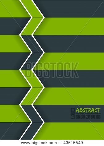 Abstract green arrow brochure background with white stripes