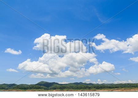Blue sky with white clouds beautiful bright