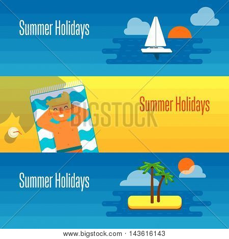 Summer holidays banner vector illustration. Man sunbathes on beach under the sun. Seascape with yacht, tropical island, palm trees and sunset on beach. Concept of holiday at sea.