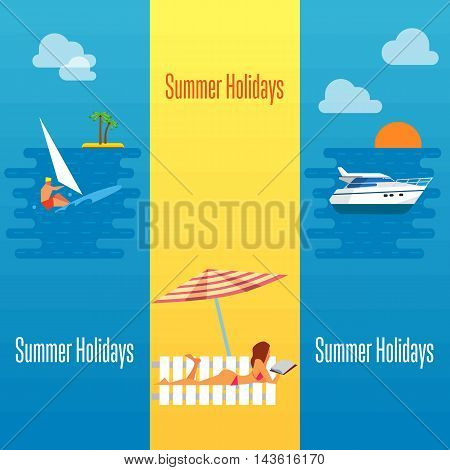 Summer holidays banner vector illustration. Sexy girl sunbathes on beach under the sun. Seascape with yacht, sunset and surfer riding on waves. Holiday at sea. Beach activities. Outdoor leisure.