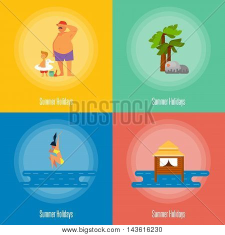 Summer holidays vector illustration. Father with little son near sea. Seascape with water bungalow. Girl jumping into sea, swimming girl. Natural landscape with palm and stones. Beach activities.