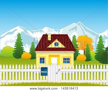 The House on nature in rural terrain.Vector illustration