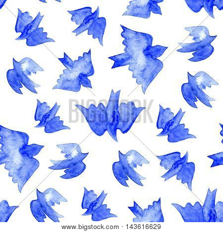 Watercolor blue birds seamless pattern on white background.