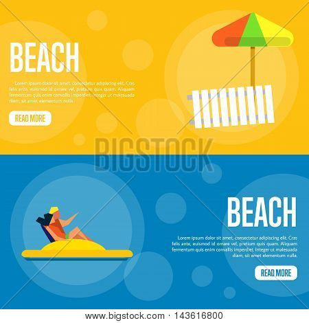Beach vector illustration. Couple on yellow water bike on on blue background. Sun lounger and beach umbrella on orange background. Beach activities. Website template. Flat design banner