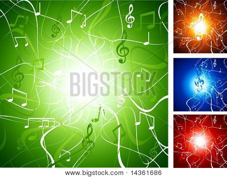 Luminous music backgrounds. Vector illustration.