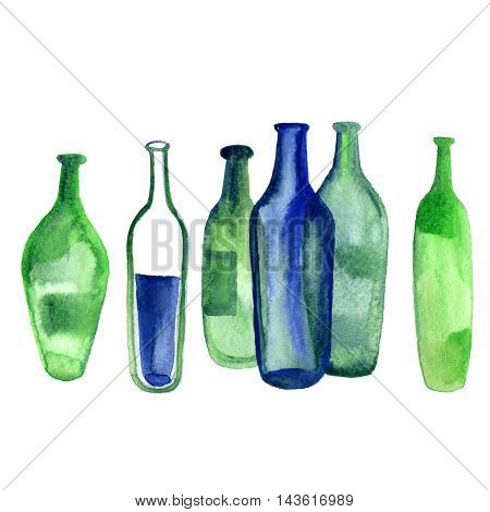 Watercolor Wine Alcohol green bottle isolated on white background.