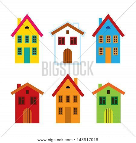 House set - colorful home icon collection