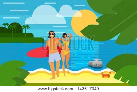 Summer banner vector illustration. Young happy couple with red surfboard walking on sand. Summer beach with sea crab, palm trees and sunset. Tropical scenery. Natural seascape. Summer time