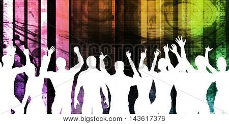 Young People Dancing Silhouette on Colorful Background 3D Illustration Render