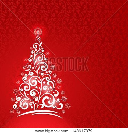 Ornamental Christmas tree greeting card vector template with red copy space. New Years background
