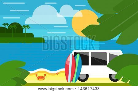 Summer banner vector illustration. Colorful surfboards stand near white mini van. Surfing concept. Summer beach with sea crab, palm trees and sunset. Tropical scenery. Natural seascape.