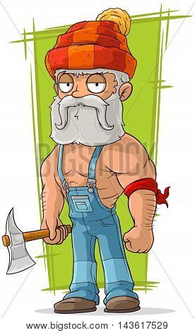 A vector illustration of cartoon old lumberjack in red cap