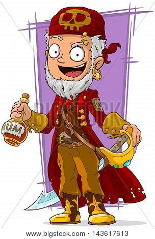A vector illustration of cartoon pirate in red cape with sword