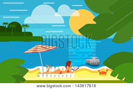 Summer banner vector illustration. Sexy girl in red swimsuit sunbathes on beach under striped umbrella. Summer beach with sea crab, palm trees and sunset. Tropical scenery. Natural seascape.