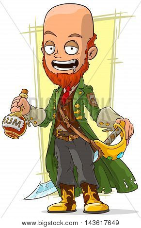 A vector illustration of cartoon redhead pirate with rum and sword