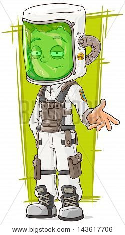 A vector illustration of cartoon scientist in protective mask