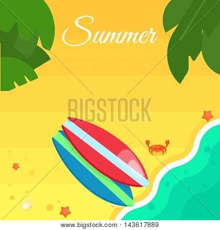 Summer banner vector illustration. Colorful striped surfboards on beach. Surfing concept. Sand beach with sea crab, palm leaves and starfish. Summer background. Natural landscape. Summer rest