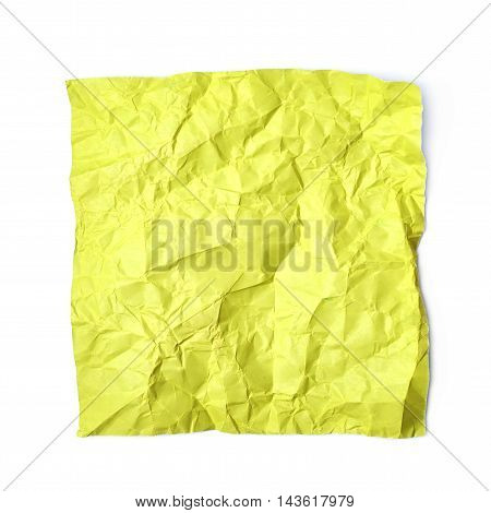 Single crumpled square shaped origami paper sheet isolated over the white background