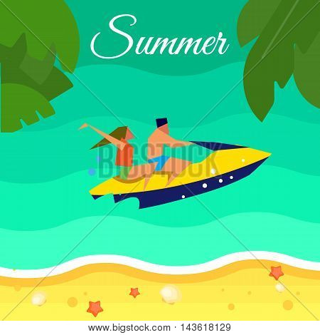 Summer background, vector illustration. Couple in life jackets riding her yellow jet ski in water. Sand beach with palm leaves and starfish. Natural landscape. Summer time. Extreme sea sports