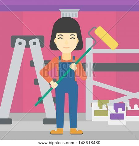 An asian female painter in uniform with a paint roller in hands. Painter at work in an apartment with paint cans and ladder. Vector flat design illustration. Square layout.