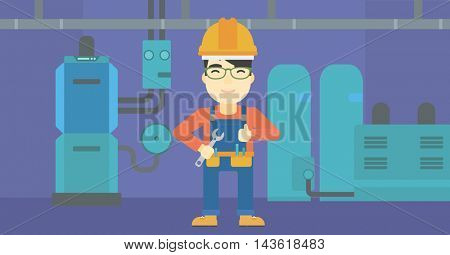 An asian repairman with a spanner in hand. A repairman giving thumb up. A repairman at domestic household boiler room. Vector flat design illustration. Horizontal layout.