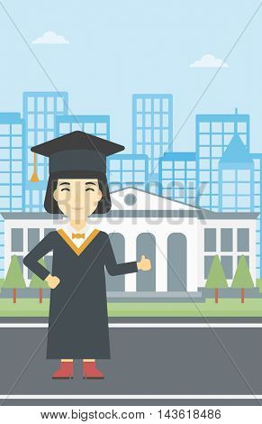 An asian happy graduate in cloak and graduation cap. A female graduate giving thumb up. Graduate celebrating on a background of educational building. Vector flat design illustration. Vertical layout.