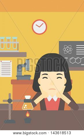 An asian young student carrying out experiment in science class. Student working at laboratory class. Student clutching head at chemistry class. Vector flat design illustration. Vertical layout.