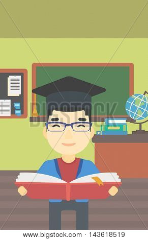 An asian graduate in graduation cap with an open book in hands. Young man reading book on the background of classroom. Vector flat design illustration. Vertical layout.