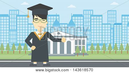 An asian happy graduate in cloak and graduation cap. A graduate giving thumb up. Graduate celebrating on a background of educational building. Vector flat design illustration. Horizontal layout.