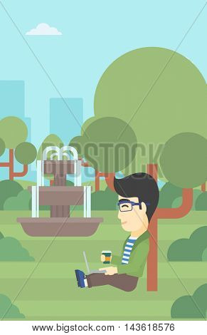 An asian young student with cup of coffee sitting in the park and using laptop. Student working on laptop outdoor. Student with laptop in park. Vector flat design illustration. Vertical layout.