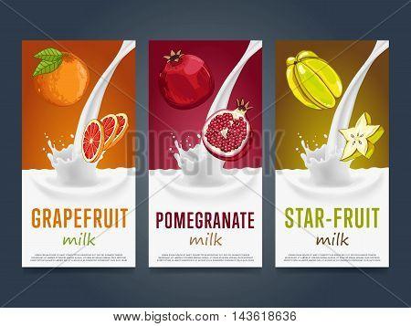 Fruits milkshake splash dessert cocktail drink with grapefruit, pomegranate, star fruit banners set vector illustration