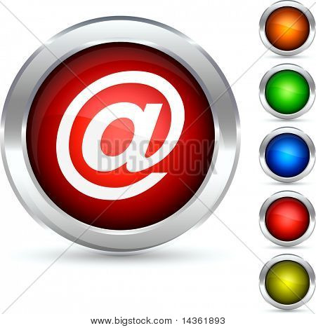 Arroba detailed button. Vector illustration.