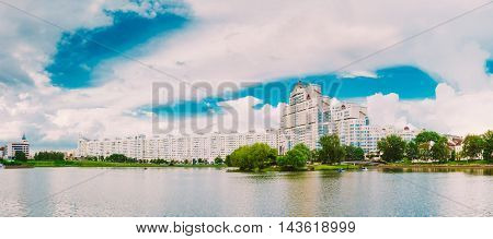 Building In Old Part Minsk, Downtown Nyamiha, Nemiga View With Svisloch River, Belarus. The Trinity Hill Is The Oldest Surviving District Of Minsk - Trojeckaje Pradmiescie