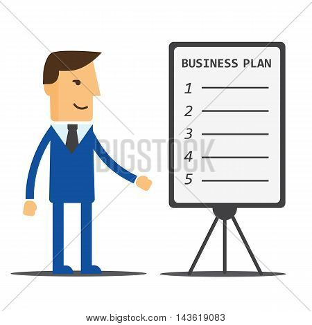 Businessman manager shows a business plan eps10