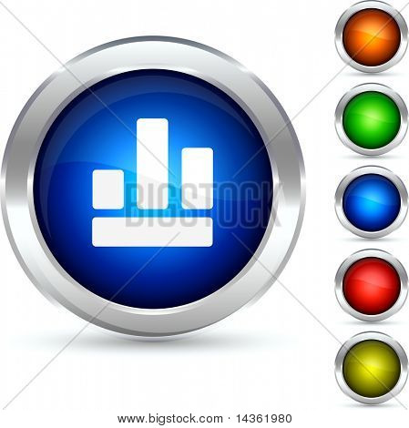 Graph detailed button. Vector illustration.