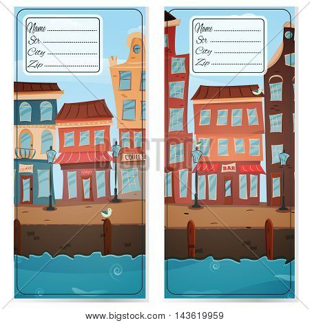 Postcards with town views. Address card. Handmade drawing isolated in vector. Postcard poster. Freehand drawing. City embankment view background