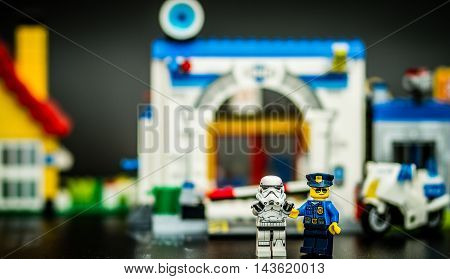 Orvieto Italy - February 08th 2015: Police at the crime scene. Lego is a popular line of construction toys manufactured by the Lego Group