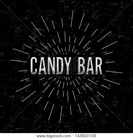 Abstract creative vector design layout with text - candy bar. Vintage concept background, art template, retro elements, logo, labels, layout, badge, old banner, card. Hand made typography word.