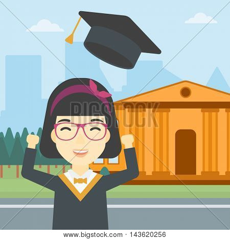 An asian excited graduate in cloak and graduation hat. Graduate throwing up her hat. Graduate celebrating on a background of educational building. Vector flat design illustration. Square layout.
