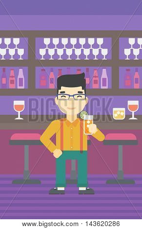 An asian joyful man holding an orange cocktail. Man drinking an orange cocktail at the bar. Man celebrating at bar with an orange cocktail. Vector flat design illustration. Vertical layout.