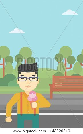 An asian young man eating a big ice cream. Happy man holding an ice cream in hand. Man enjoying an ice cream at park. Vector flat design illustration. Vertical layout.